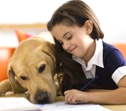 girl reading dog